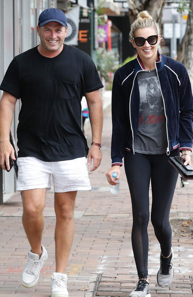 Karl and Jasmine looked ready to hit the gym in Sydney (and were surprisingly happy about it). Picture: Matrix