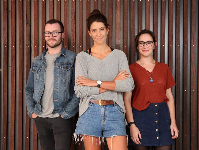 "Millennials Owen Cafe, 26, Dominique Eden, 23, and Katherine Gioseffi, 29, pictured in Brisbane. Their generation is increasingly looking to the ""gig economy"". Picture: Liam Kidston."
