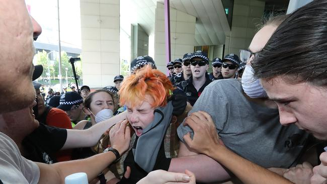 Protesters and police were involved in a scuffle as tensions escalated. Picture: Alex Coppel.