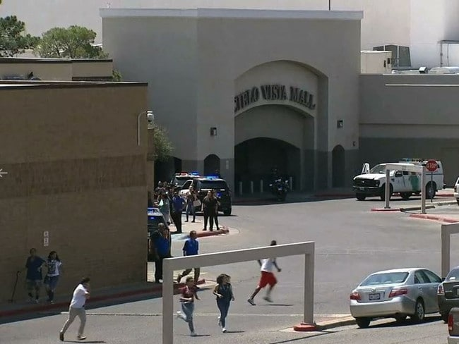 People flee the Cielo Vista Mall in El Paso Texas after the shooting. Picture: Supplied