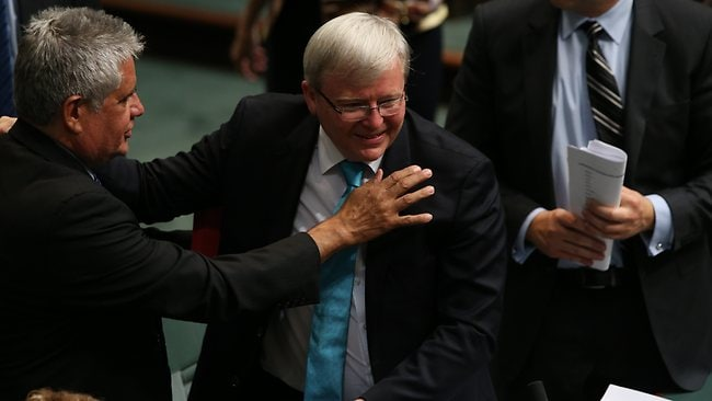 Ken Wyatt chats to Kevin Rudd following his resignation. Picture: Gary Ramage