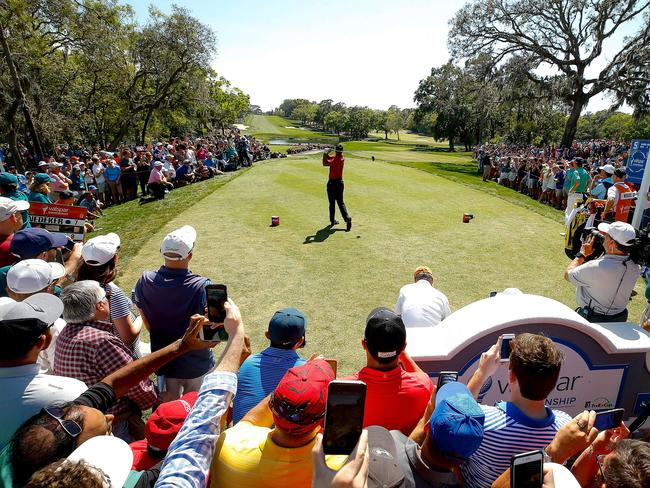 Tiger Woods plays his shot from the fifth tee during the final round.