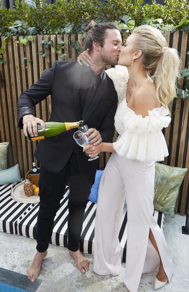 Josh Barker and Elyse Knowles celebrate their win on the 2017 season of The Block. Picture: Channel Nine