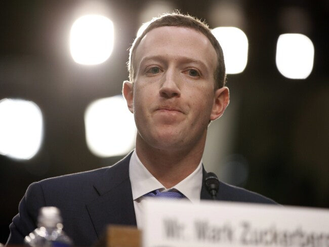 Facebook CEO Mark Zuckerberg testifies before a joint hearing of the Commerce and Judiciary Committees on Capitol Hill in Washington. Photo: AP/Alex Brandon