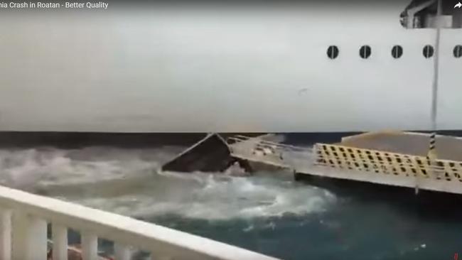 It smashed up a pier. Picture: gCaptain