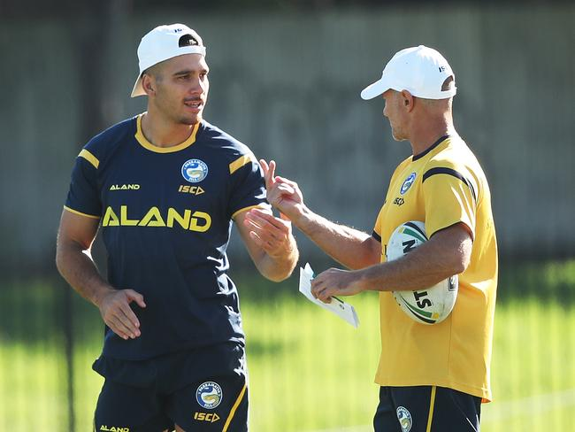 Corey Norman and coach Brad Arthur during Eels training.