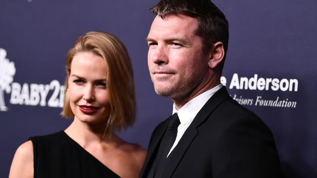 Lara and Sam Worthington attend The 2017 Baby2Baby Gala. Picture: Emma McIntyre