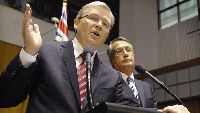 Prime Minister Kevin Rudd and Treasurer Wayne Swan announce the second economic stimulus package in 2009. Picture: AP