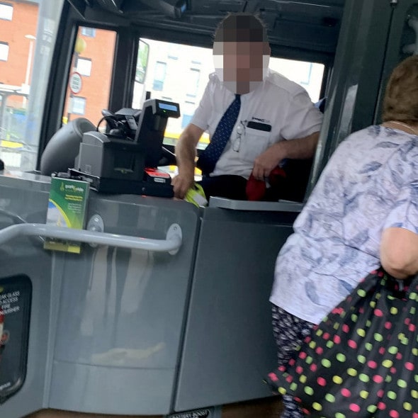 The bus driver was photographed by passengers.