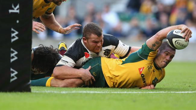 Matt Hodgson captained the Wallabies against the Barbarians at Twickenham in 2014.