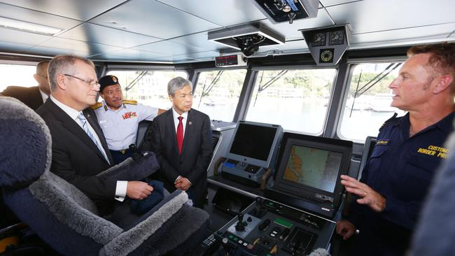 Scott Morrison, the then Minister for Immigration and Border Control, aboard a Border Force vessel in 2014. Picture: Nowytarger Renee
