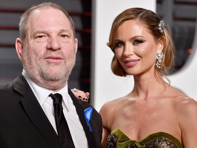 Harvey Weinstein (L) and his estranged fashion designer wife Georgina Chapman. Picture: AFP