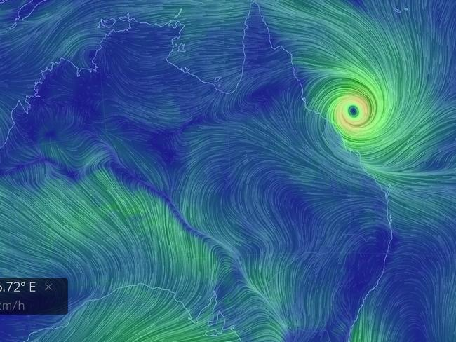 Directional wind maps show Cyclone Debbie off the coast of North Queensland on Monday morning. Source: earthnull.net