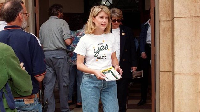 Remember her? Democrats Senator Natasha Stott Despoja after casting her vote in Australia's republic referendum in 1999. The vote cost a lot of money and the republicans lost. Picture: Sally Harding