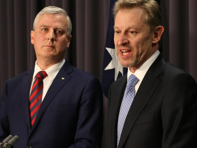 Small Business Minister Michael McCormack and ABS statistician David Kalisch answer to the media after hours of confusion. Picture: Ray Strange