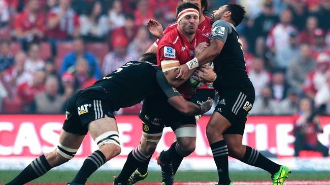 The Lions and captain Jaco Kriel (C) couldn't break the Crusaders' line during the first half.