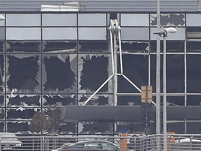 The damaged facade of Brussels airport. Picture: AFP/John Thys