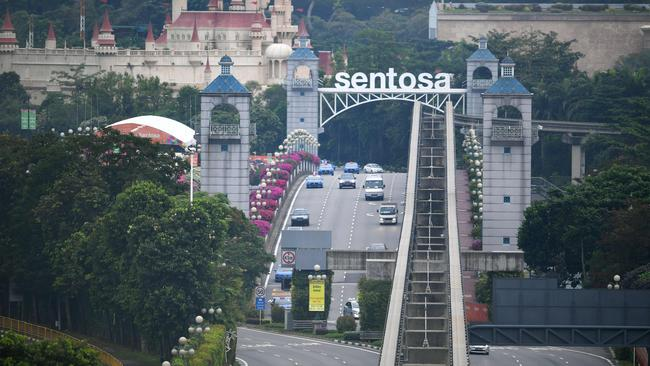 Traffic crosses the causeway leading to Sentosa, the resort island where US President Donald Trump is scheduled to meet with North Korea's leader Kim Jong-un.