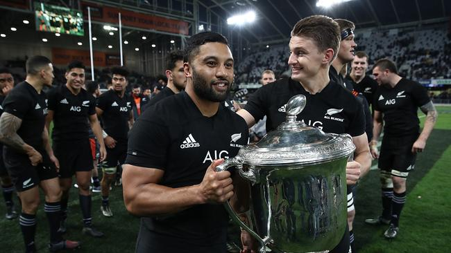 Lima Sopoaga and Beauden Barrett of the All Blacks with the Bledisloe Cup.