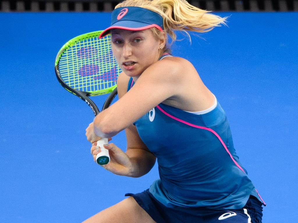 Australia's Daria Gavrilova hits a return during her women's singles match against Romania's Monica Niculescu at the Hong Kong Open tennis tournament on October 11, 2018. (Photo by Anthony WALLACE / AFP)