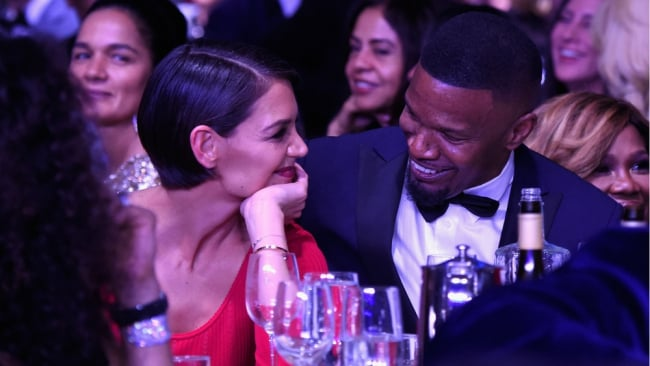 Katie Holmes and Jamie Foxx at the Clive Davis Grammy gala. Photo: Getty