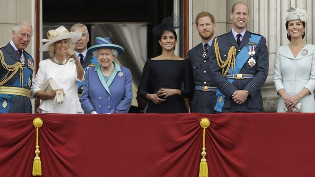The royal family gather on the balcony of Buckingham Palace in 2018. Picture: AP Photo/Matt Dunham