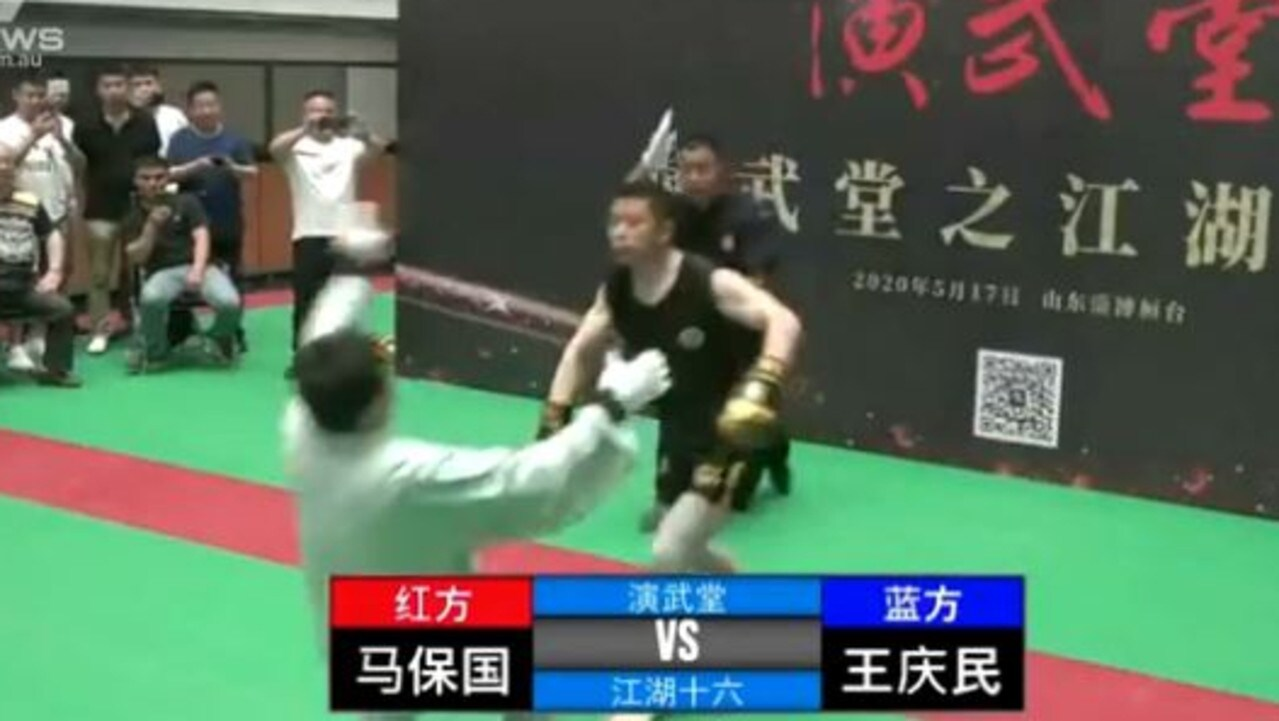 The kung fu master is floored by a right hook.