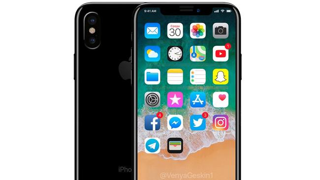 A hopeful render of the new Apple iPhone 8. Picture: Benjamin Geskin