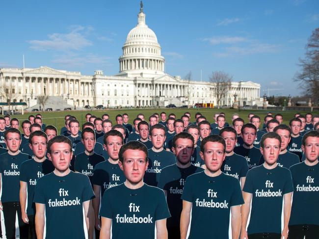 Mark Zuckerberg has drawn protests over privacy and data protection in the US. Picture: Saul Loeb/AFP