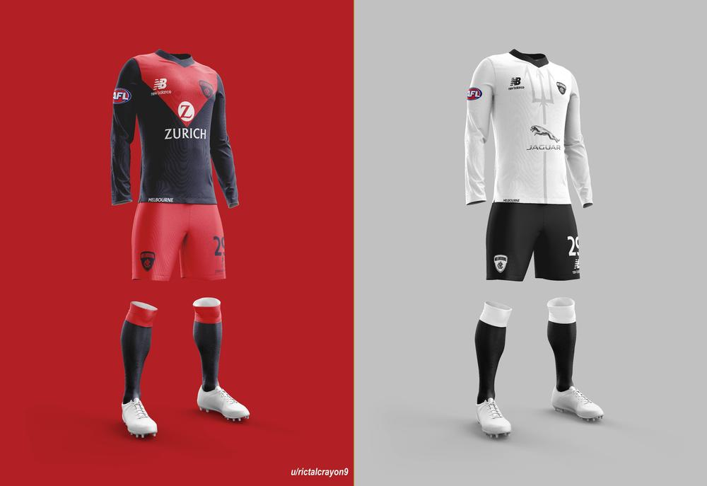 Melbourne's home and away/clash jerseys.