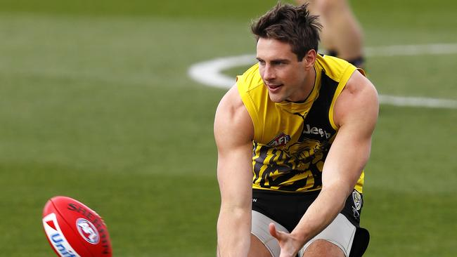 Shaun Hampson training with the Tigers in 2017. Picture: Michael Klein