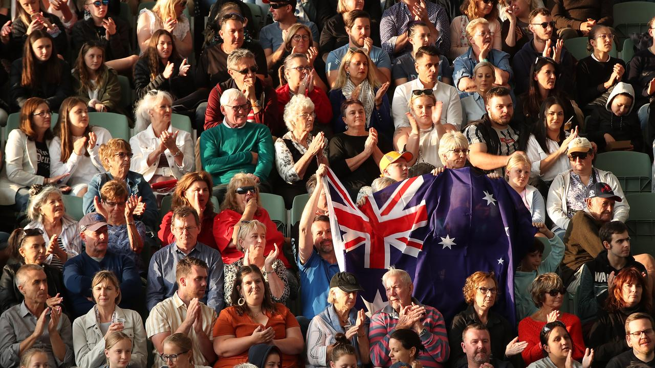 Spectators show their support for Ash Barty during the Adelaide International.