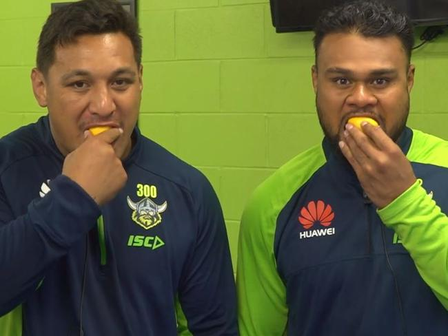 Canberra Raiders NRL stars Josh Papalii and Dunamis Lui this week accepted Annabelle's Lemon Face Challenge.