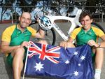 Kieran Modra AO and Scott McPhee after receiving Australia Day honours in 2014. Picture: Stephen Laffe.