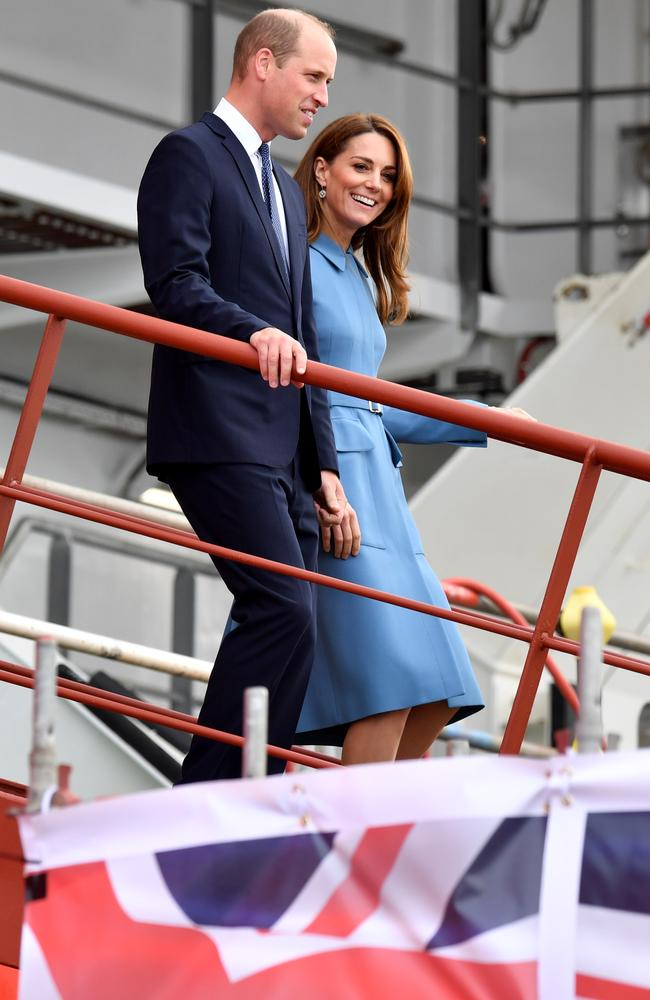 The royal couple inspect the vessel. Picture: Getty Images