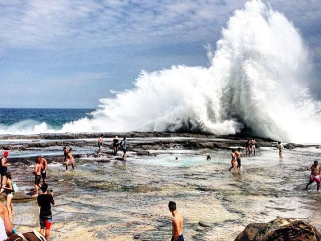 Danger... A huge wave smashes the Figure 8 Pools. Picture: Instagram