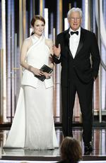 Julianne Moore and Richard Gere speak onstage during the 76th Annual Golden Globe Awards on January 6, 2019 in Beverly Hills, California. Picture: Getty