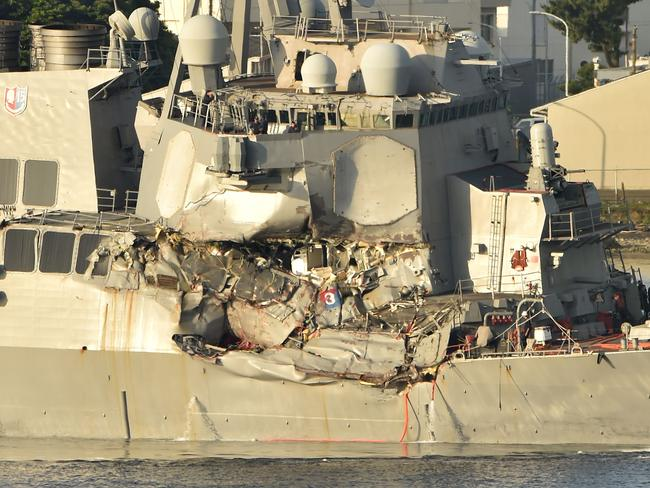 USS Fitzgerald as it arrved at its mother port US Naval Yokosuka Base, Kanagawa prefecture. Picture: AFP