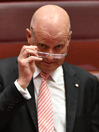 Liberal Democratic Party Senator David Leyonhjelm in the Senate chamber on Monday. Picture: AAP Image/Mick Tsikas