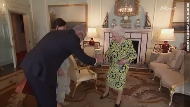 Scott Morrison chats with Queen Elizabeth II