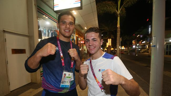 Boxers Robbie McKechnie and Mitchell Barton out and about in Surfers Paradise. Picture: Mike Batterham