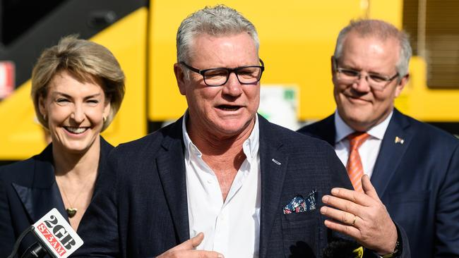Scott Cam speaking to media alongside Minister for Employment, Skills, Small and Family Business Michaelia Cash and Prime Minister Scott Morrison. Picture: James Gourley/AAP