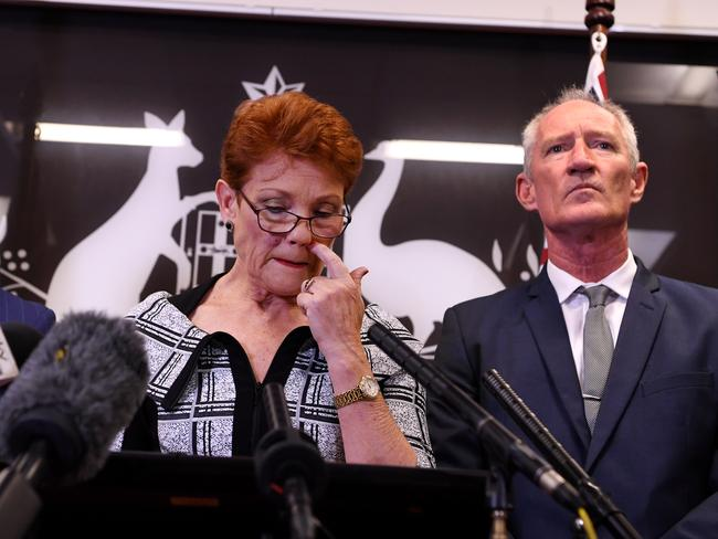 One Nation leader Pauline Hanson (centre) with Steve Dickson after the Al Jazeera gun lobby footage was released. Picture: Dan Peled