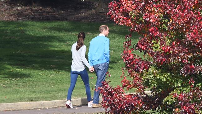 Canberra turned on its autumn best for the royal couple, strolling the Yarralumla grounds. Picture: News Corp Australia