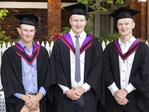 Benjamin Cant, Thomas McLean and Michael Dunn at the UTAS Graduation at Launceston. PICTURE CHRIS KIDD