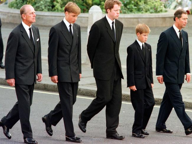 (L to R) Britain's Prince Philip, Duke of Edinburgh, Prince William, Earl Spencer, Prince Harry and Britain's Prince Charles, Prince of Wales walk outside Westminster Abbey during the funeral service for Diana, Princess of Wales in 1997. Picture: AFP