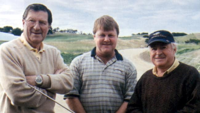 Ross Perrett (centre) with his former golf course design business partners Peter Thomson and Michael Wolveridge.