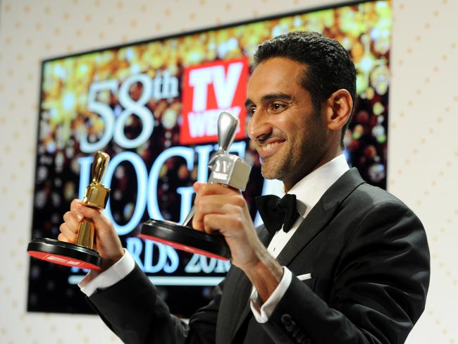 Waleed Aly with his gold and silver Logies after taking out the top gong. Picture: Joe Castro