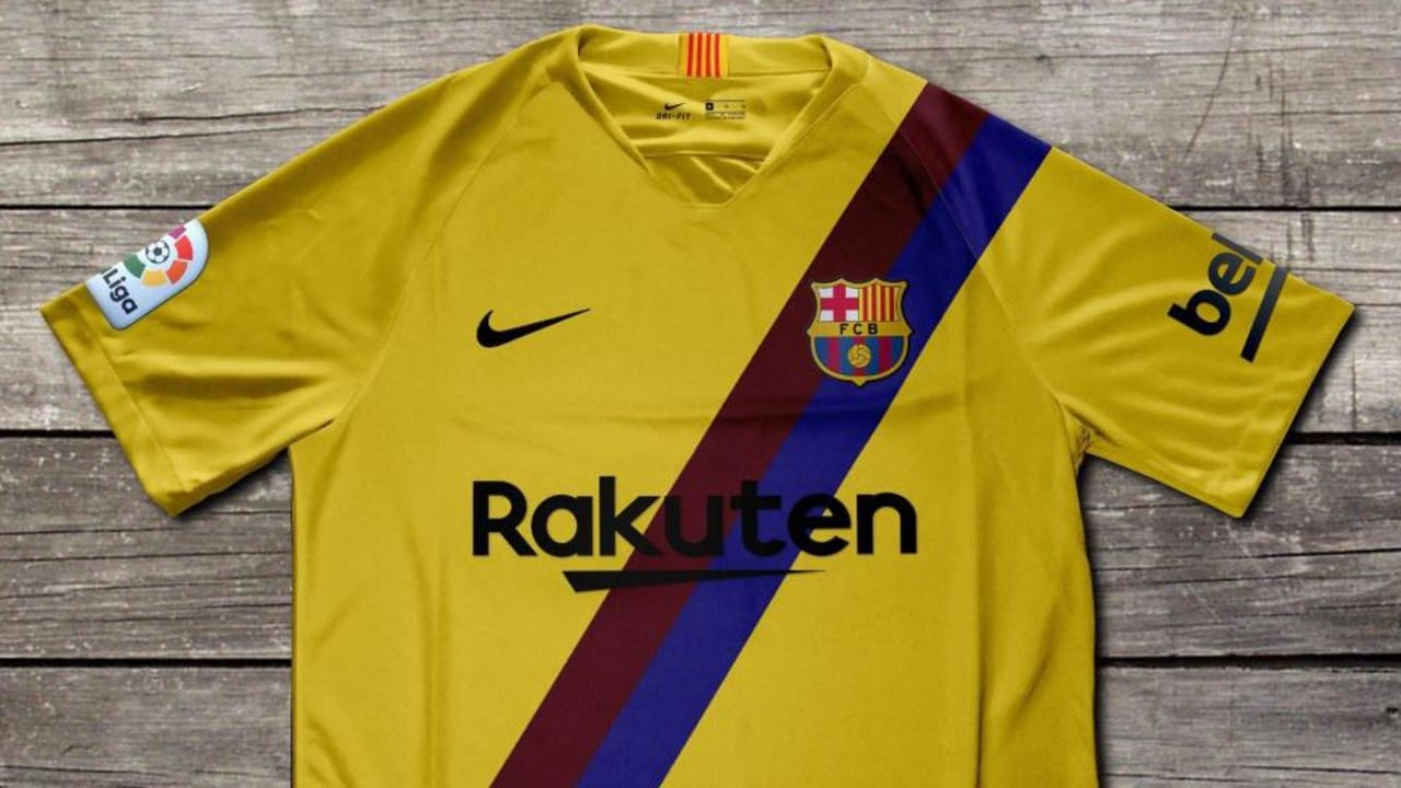 2d9fa26e051 Barcelona s away kit for next season is yellow with a blue and red sash