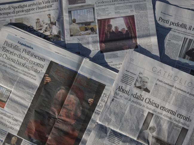 Making news ... Italian newspapers with Cardinal George Pell is making headlines. Picture: Ella Pellegrini